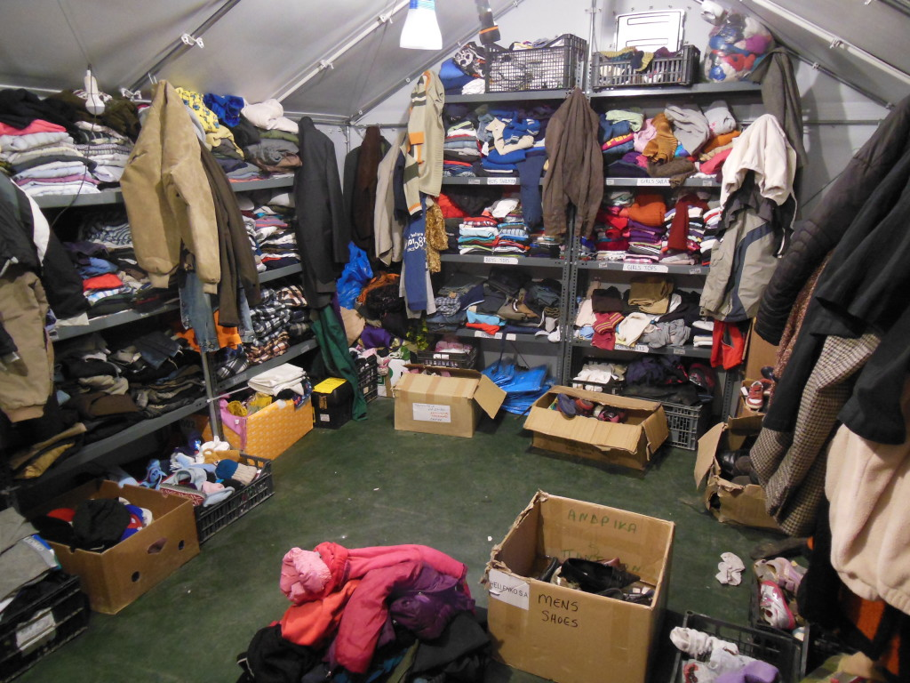 Inside the clothing tent.